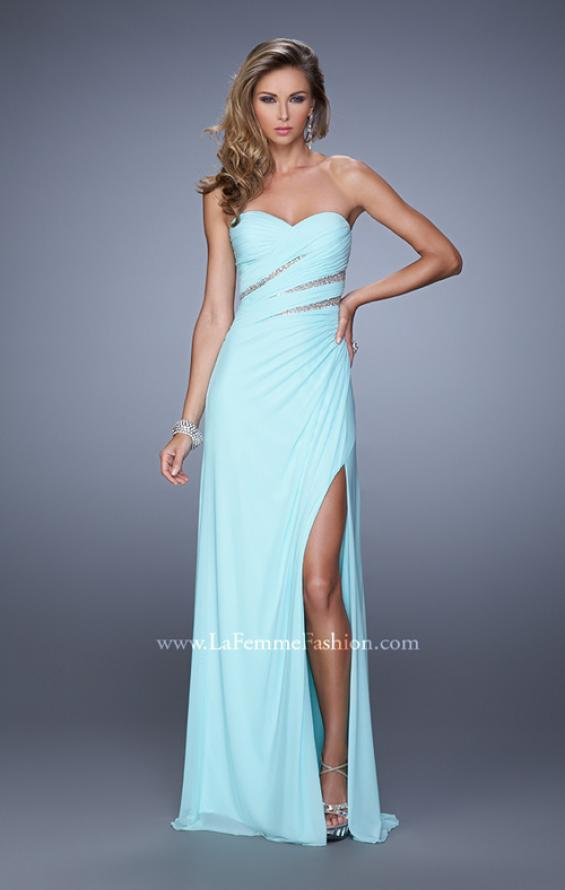 Picture of: Long Jersey Dress with Embellished Sheer Cut Outs in Mint, Style: 21157, Detail Picture 2