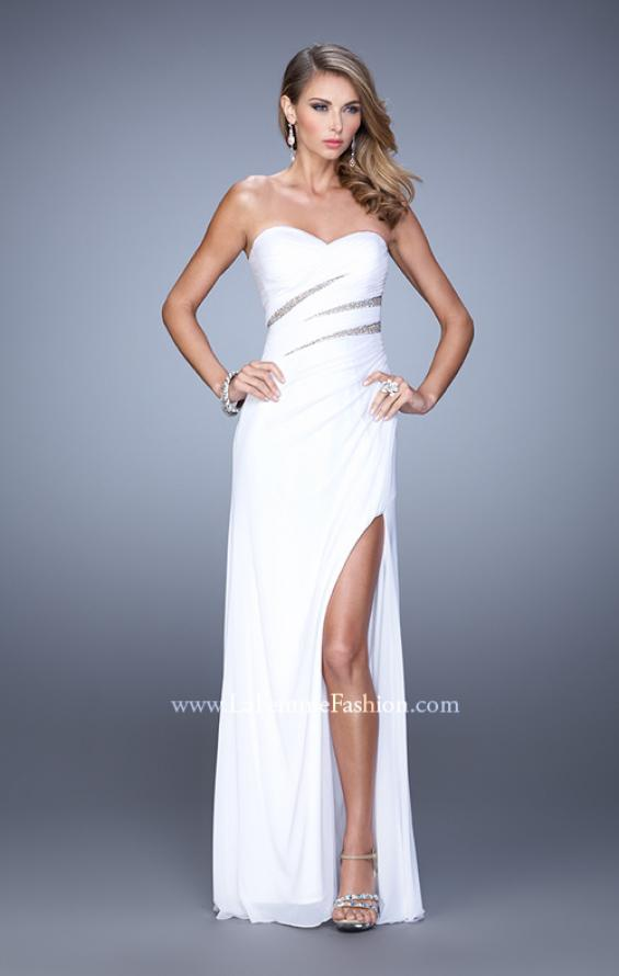 Picture of: Long Jersey Dress with Embellished Sheer Cut Outs in White, Style: 21157, Detail Picture 3