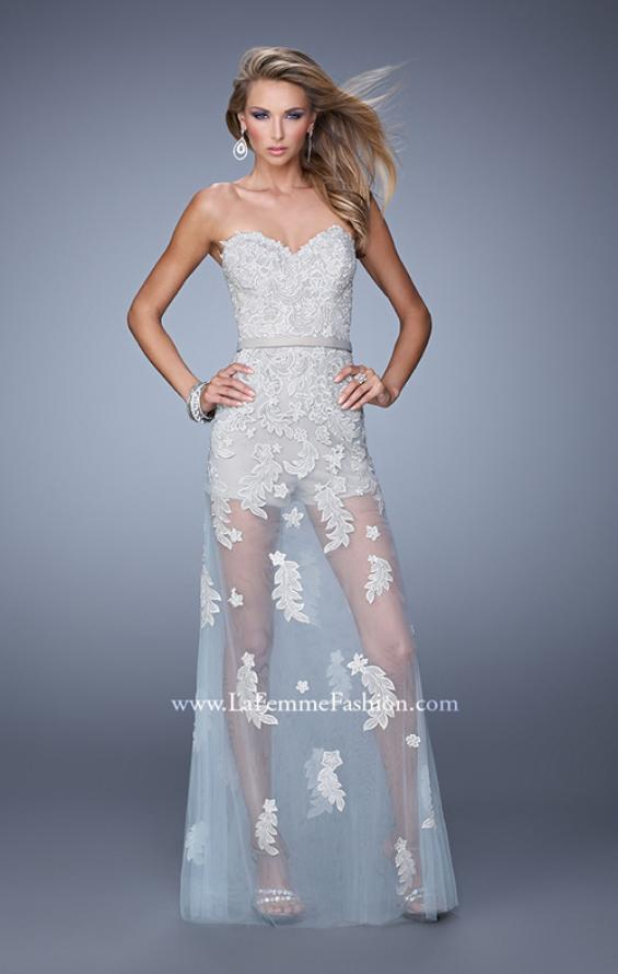 Picture of: Metallic Embroidered Jumpsuit with Sheer Tulle Overlay, Style: 21165, Main Picture