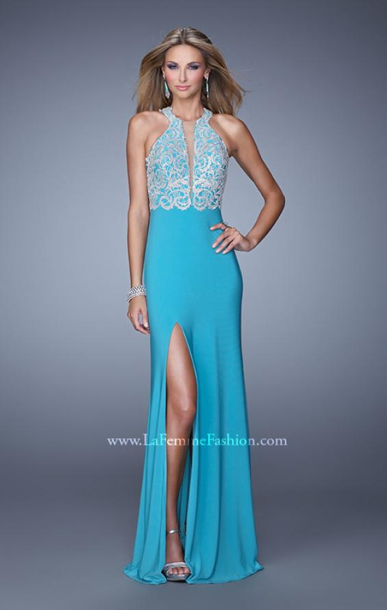 Picture of: Long Halter Jersey Prom Dress with Beaded Embroidery, Style: 21168, Main Picture