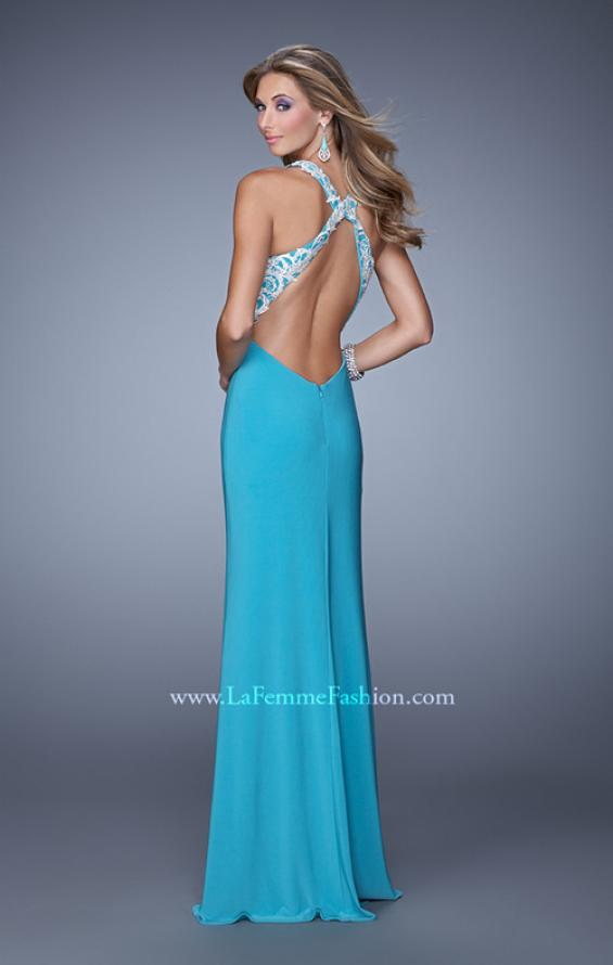 Picture of: Long Halter Jersey Prom Dress with Beaded Embroidery, Style: 21168, Back Picture