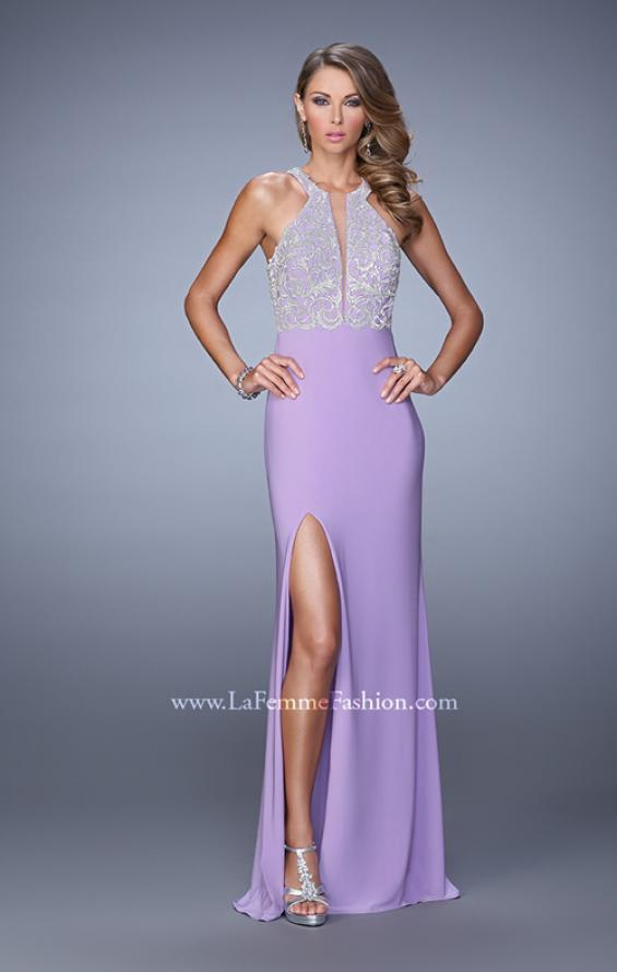 Picture of: Long Halter Jersey Prom Dress with Beaded Embroidery, Style: 21168, Detail Picture 1