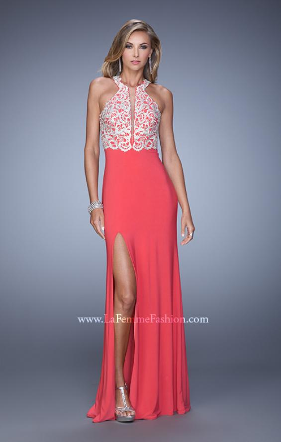 Picture of: Long Halter Jersey Prom Dress with Beaded Embroidery, Style: 21168, Detail Picture 2