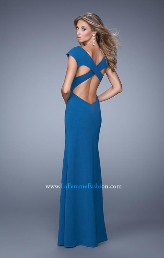 Picture of: Cap Sleeve Prom Dress with V Neck and Crisscross Straps in Blue, Style: 21169, Back Picture