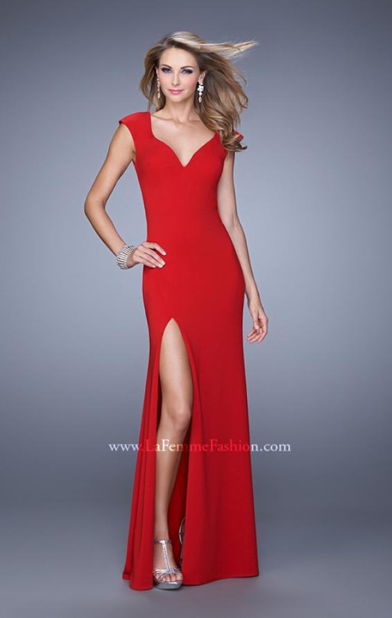 Picture of: Cap Sleeve Prom Dress with V Neck and Crisscross Straps in Red, Style: 21169, Detail Picture 1