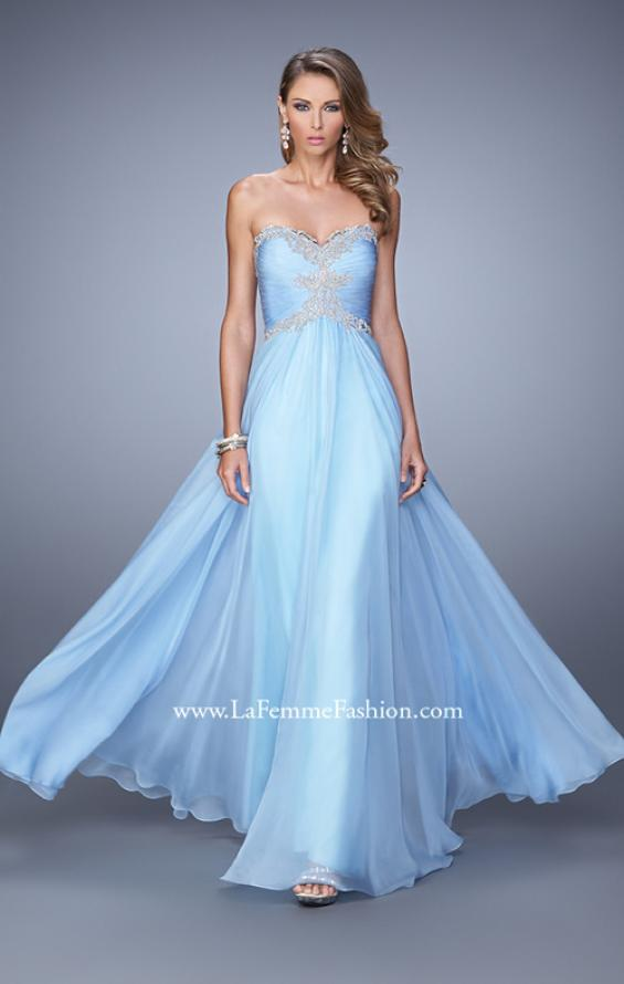 Picture of: Ruched Bodice Prom Dress with Sweetheart Neckline in Blue, Style: 21173, Detail Picture 1