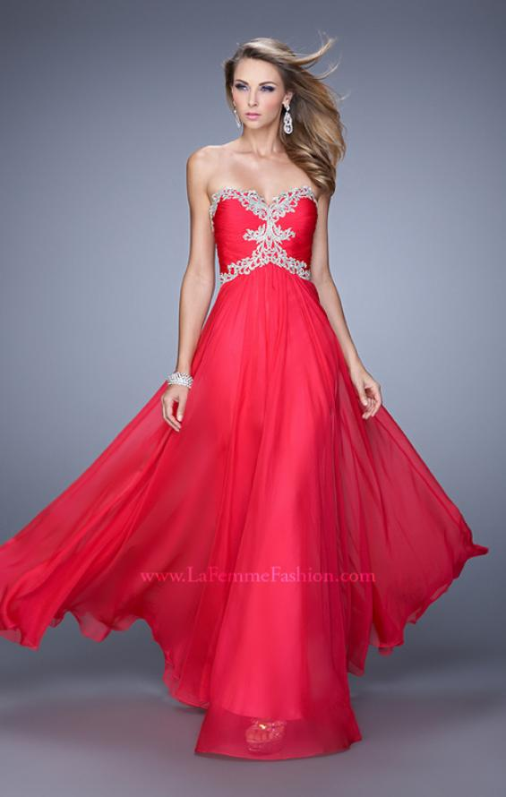 Picture of: Ruched Bodice Prom Dress with Sweetheart Neckline in Red, Style: 21173, Detail Picture 2