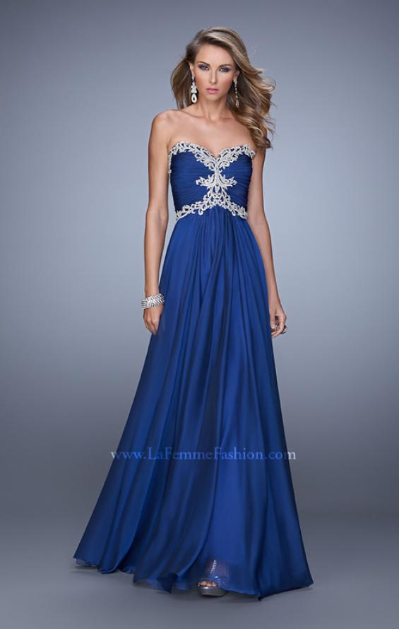 Picture of: Ruched Bodice Prom Dress with Sweetheart Neckline in Navy, Style: 21173, Detail Picture 4