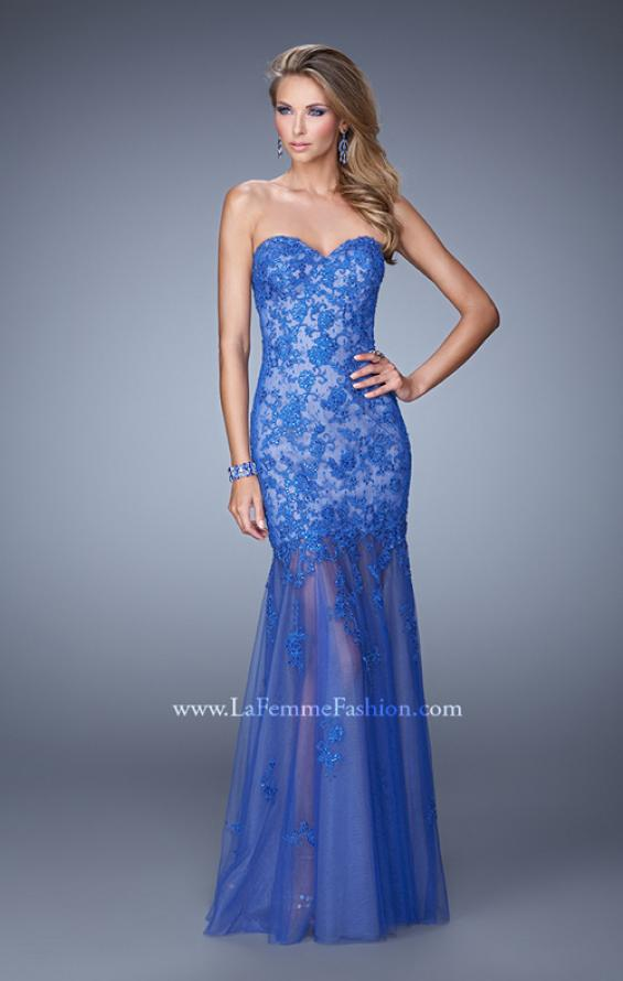 Picture of: Long Lace Dress with Sheer Tulle Skirt and Beaded Lace in Blue, Style: 21174, Main Picture