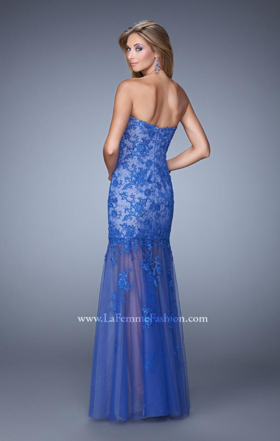 Picture of: Long Lace Dress with Sheer Tulle Skirt and Beaded Lace in Blue, Style: 21174, Back Picture