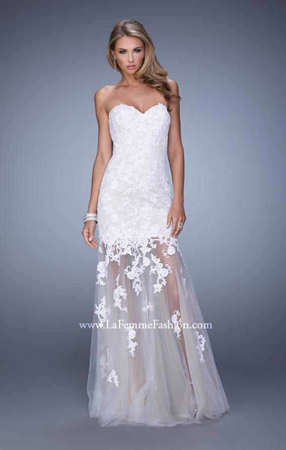 Picture of: Long Lace Dress with Sheer Tulle Skirt and Beaded Lace in White, Style: 21174, Detail Picture 1