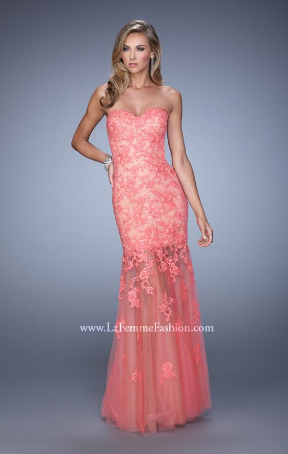 Picture of: Long Lace Dress with Sheer Tulle Skirt and Beaded Lace in Coral, Style: 21174, Detail Picture 2