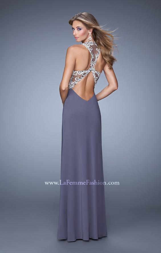 Picture of: Halter Prom Dress with Embroidery and Open Back in Gray, Style: 21183, Main Picture