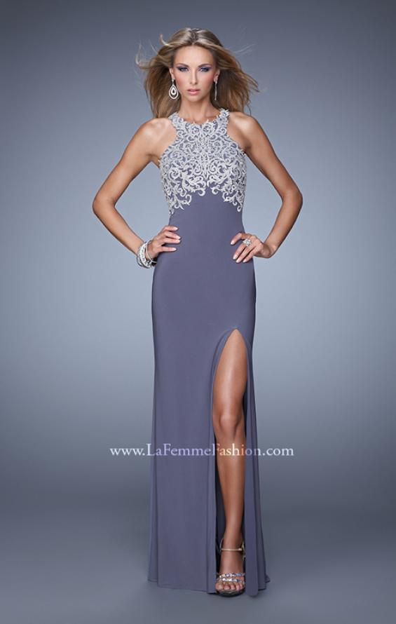 Picture of: Halter Prom Dress with Embroidery and Open Back in Gray, Style: 21183, Back Picture
