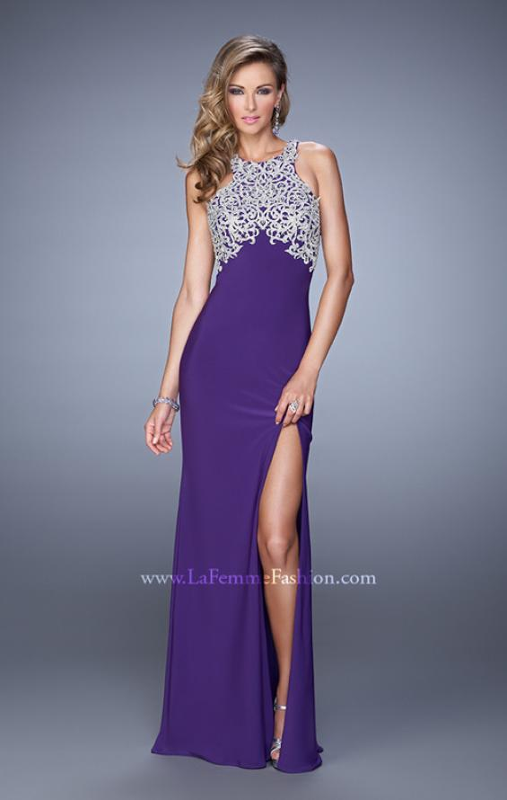 Picture of: Halter Prom Dress with Embroidery and Open Back in Purple, Style: 21183, Detail Picture 2