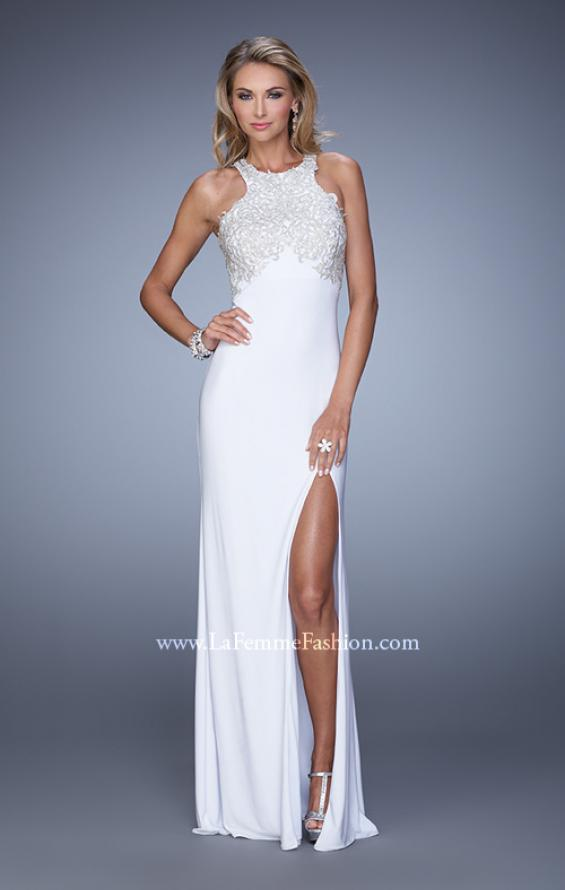 Picture of: Halter Prom Dress with Embroidery and Open Back in White, Style: 21183, Detail Picture 3