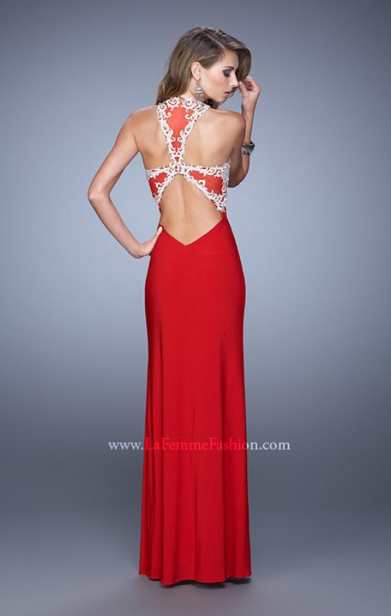 Picture of: Halter Prom Dress with Embroidery and Open Back in Red, Style: 21183, Detail Picture 4