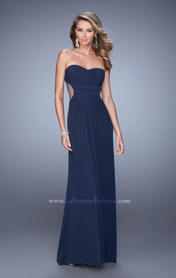 Picture of: Long Net Jersey Prom Dress with Sweetheart Neckline in Navy, Style: 21184, Detail Picture 1