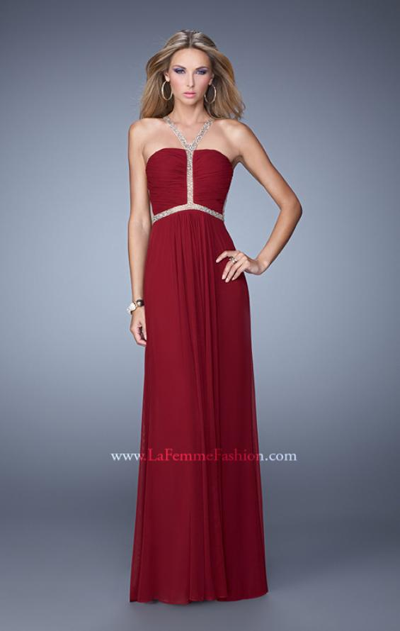 Picture of: Sheer Back Jersey Prom Dress with Rhinestones in Red, Style: 21185, Main Picture