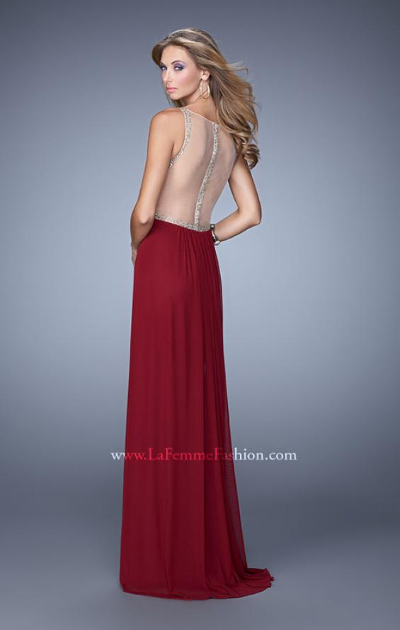 Picture of: Sheer Back Jersey Prom Dress with Rhinestones in Red, Style: 21185, Back Picture