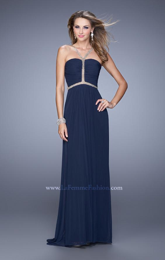 Picture of: Sheer Back Jersey Prom Dress with Rhinestones in Navy, Style: 21185, Detail Picture 1