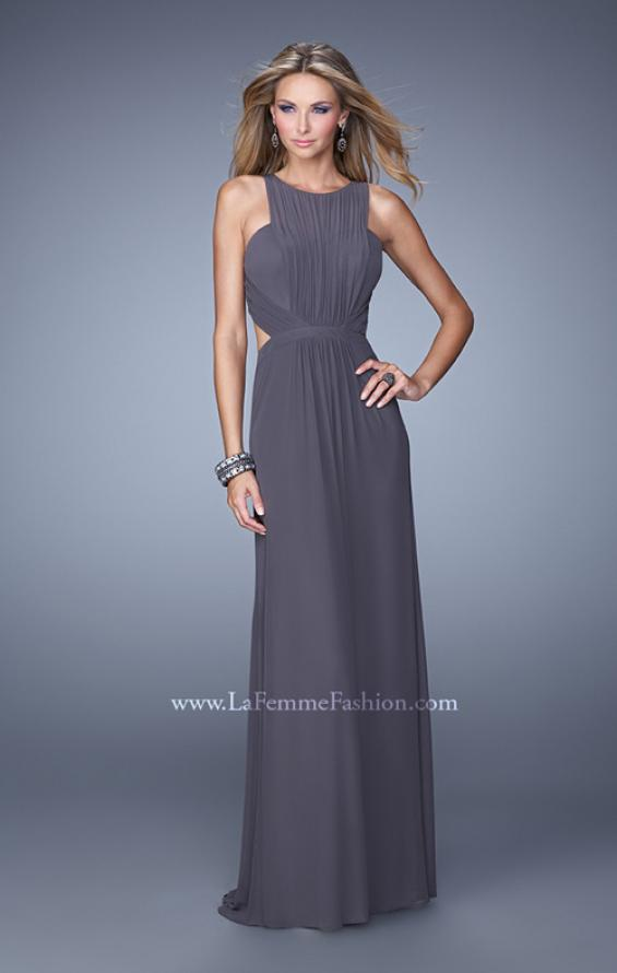 Picture of: High Scoop Neckline Prom Dress with Diamond Back in Gray, Style: 21187, Main Picture