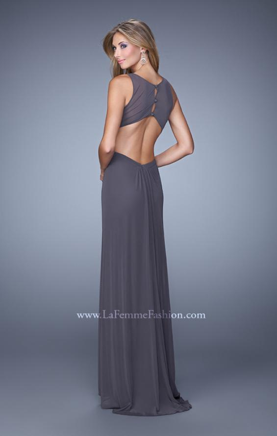 Picture of: High Scoop Neckline Prom Dress with Diamond Back in Gray, Style: 21187, Back Picture