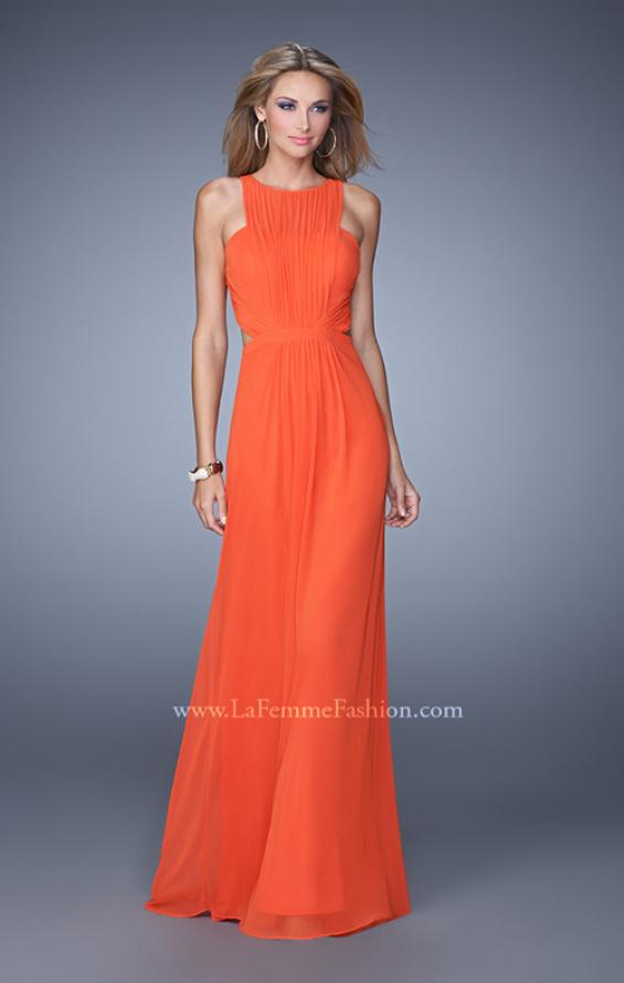 Picture of: High Scoop Neckline Prom Dress with Diamond Back in Orange, Style: 21187, Detail Picture 1