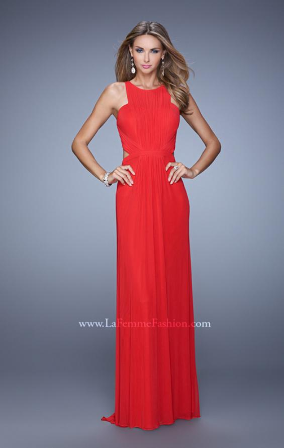 Picture of: High Scoop Neckline Prom Dress with Diamond Back in Red, Style: 21187, Detail Picture 3