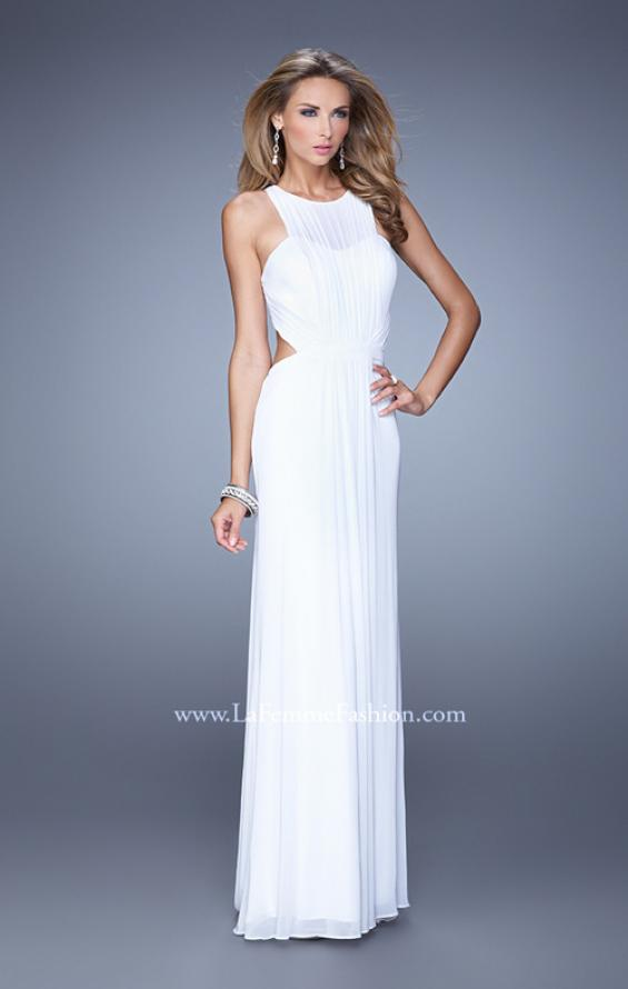 Picture of: High Scoop Neckline Prom Dress with Diamond Back in White, Style: 21187, Detail Picture 4