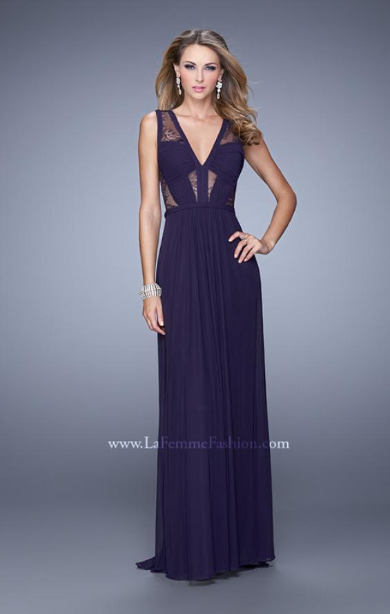Picture of: V Neck Jersey Gown with Ruched Trim and Sheer Lace in Plum, Style: 21188, Detail Picture 1