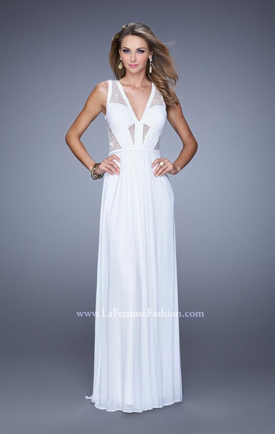 Picture of: V Neck Jersey Gown with Ruched Trim and Sheer Lace in White, Style: 21188, Detail Picture 2