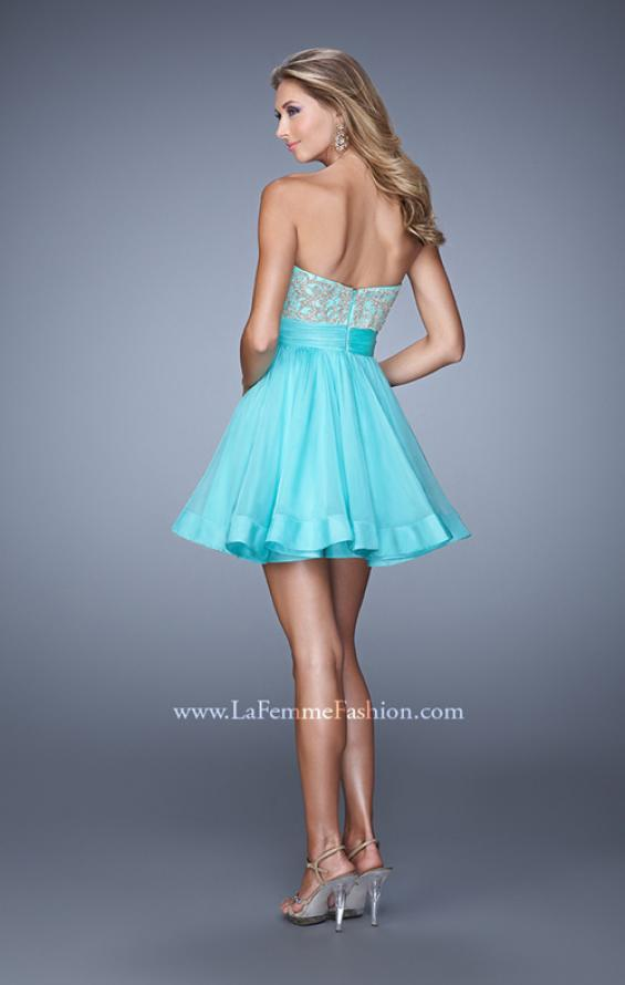 Picture of: Chiffon Cocktail Dress with Beaded Embroidery and Belt, Style: 21202, Back Picture
