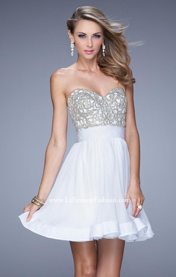 Picture of: Chiffon Cocktail Dress with Beaded Embroidery and Belt, Style: 21202, Detail Picture 3