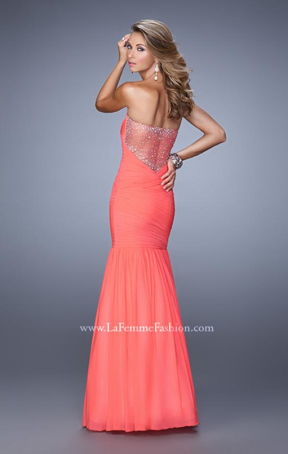 Picture of: Rhinestone Long Prom Gown with Gathering in Pink, Style: 21203, Back Picture