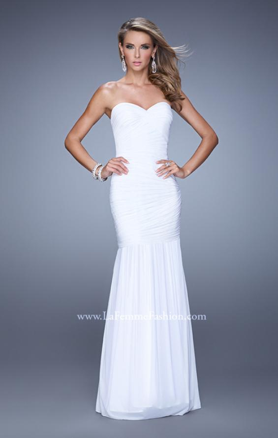 Picture of: Rhinestone Long Prom Gown with Gathering in White, Style: 21203, Detail Picture 2