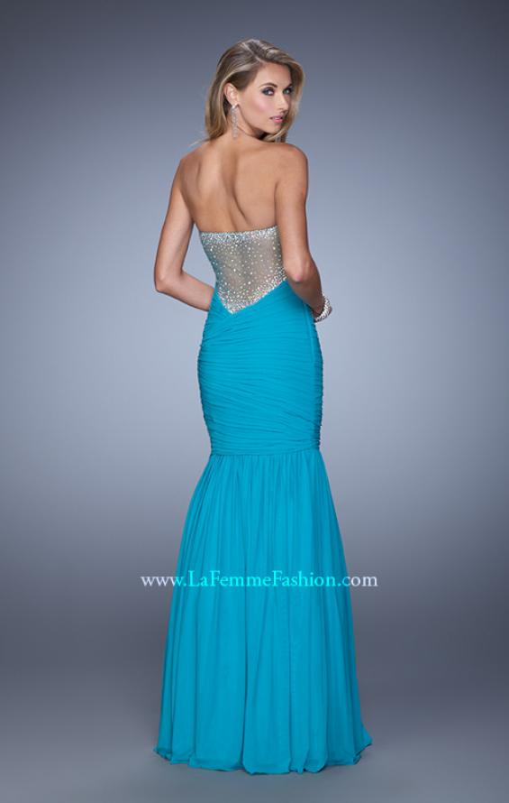 Picture of: Rhinestone Long Prom Gown with Gathering in Blue, Style: 21203, Detail Picture 5