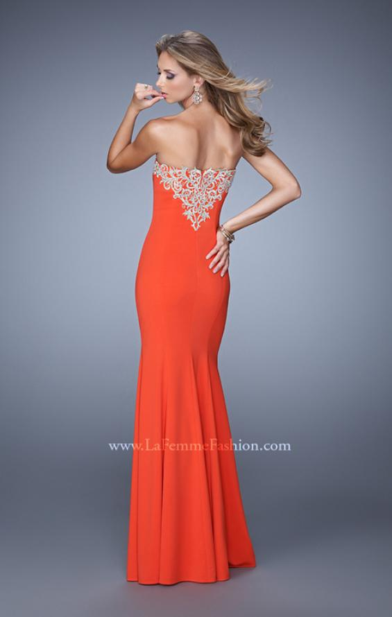 Picture of: Long Jersey Prom Dress with Flared Skirt and Stones, Style: 21204, Back Picture