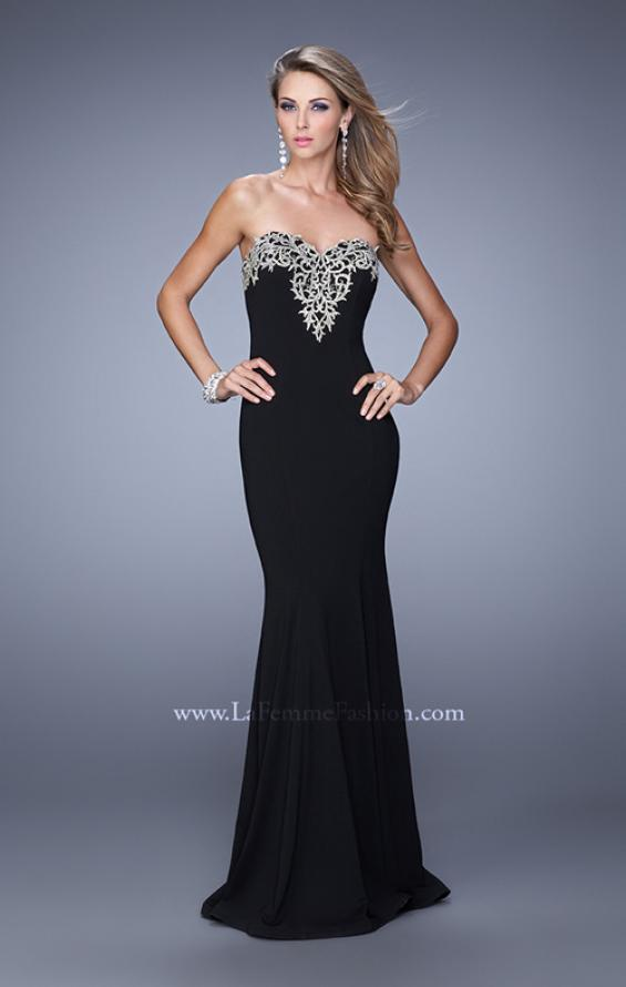 Picture of: Long Jersey Prom Dress with Flared Skirt and Stones, Style: 21204, Detail Picture 1