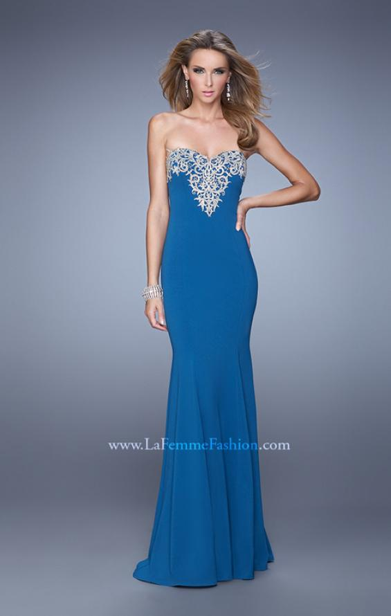 Picture of: Long Jersey Prom Dress with Flared Skirt and Stones, Style: 21204, Detail Picture 2