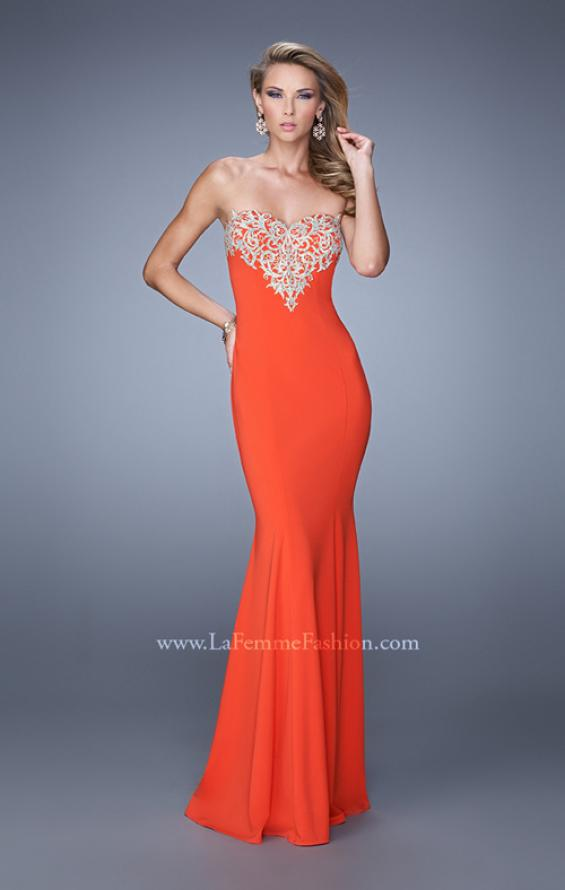 Picture of: Long Jersey Prom Dress with Flared Skirt and Stones, Style: 21204, Detail Picture 3