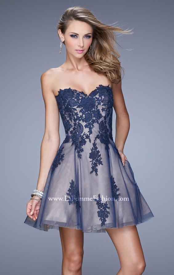 Picture of: Short Tulle Cocktail Dress with Lace Appliques and Pockets in Blue, Style: 21213, Main Picture