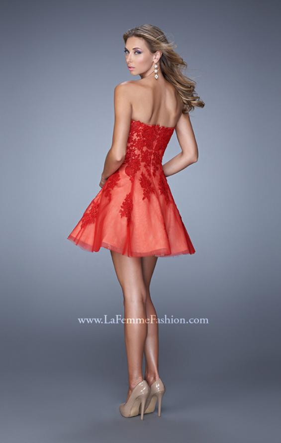 Picture of: Short Tulle Cocktail Dress with Lace Appliques and Pockets in Red, Style: 21213, Back Picture