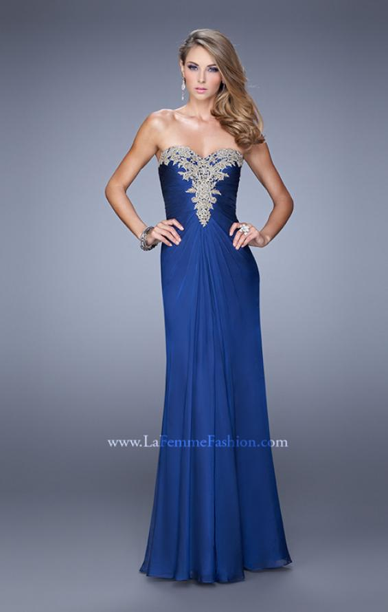 Picture of: Beaded Embroidery Prom Dress with Gathered Bodice, Style: 21214, Detail Picture 1