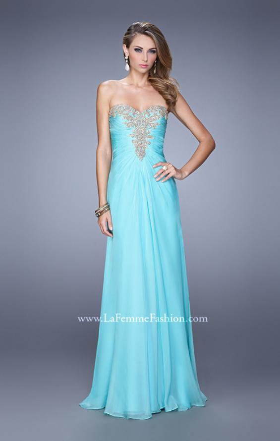 Picture of: Beaded Embroidery Prom Dress with Gathered Bodice, Style: 21214, Detail Picture 3