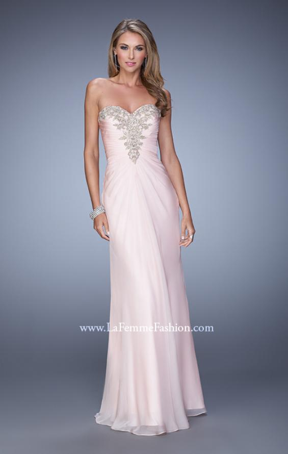 Picture of: Beaded Embroidery Prom Dress with Gathered Bodice, Style: 21214, Detail Picture 4