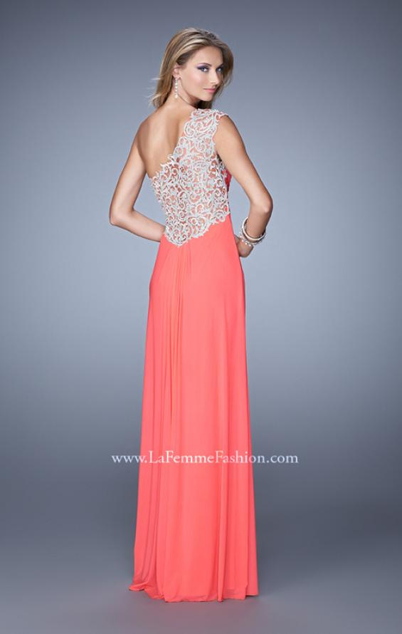 Picture of: Long One Shoulder Jersey Prom Dress with Embroidery in Coral, Style: 21219, Back Picture