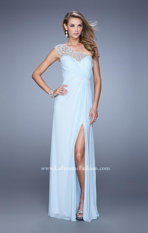 Picture of: Long One Shoulder Jersey Prom Dress with Embroidery in Mint, Style: 21219, Detail Picture 1