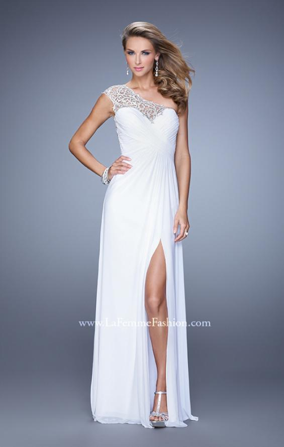 Picture of: Long One Shoulder Jersey Prom Dress with Embroidery in White, Style: 21219, Detail Picture 2