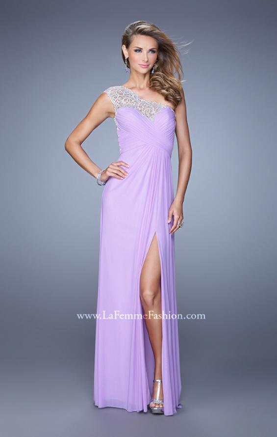 Picture of: Long One Shoulder Jersey Prom Dress with Embroidery in Lavender, Style: 21219, Detail Picture 3